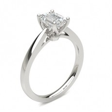 Emerald White Gold Solitaire Diamond Rings