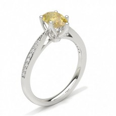 4 Prong Yellow Diamond Side Stone Engagement Ring