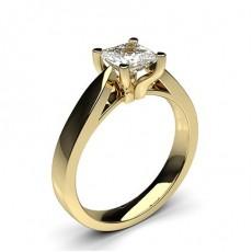 Princess Yellow Gold Solitaire Diamond Rings