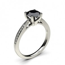 4 Prong Setting Thin Side Stone Engagement Black Diamond Ring