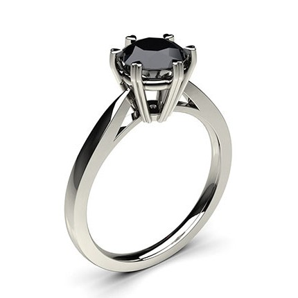Buy 6 Prong Setting Thin Engagement Black Diamond Ring Online UK