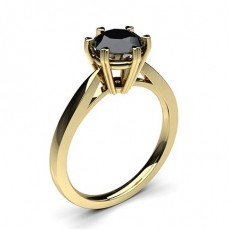 Round Yellow Gold  Black Diamond Engagement Rings