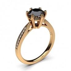 Rose Gold  Black Diamond Diamond Engagement Rings
