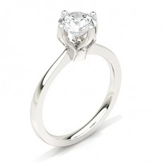 Round White Gold  Classic Solitaire Engagement Rings