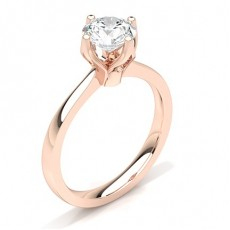 Round Rose Gold Diamond Engagement Rings