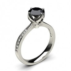 Round White Gold Black Diamond Engagement Diamond Engagement Rings