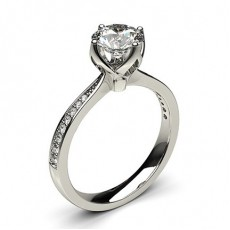 White Gold Side Stone Diamond Ring