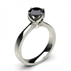 4 Prong Setting Large Engagement Black Diamond Ring
