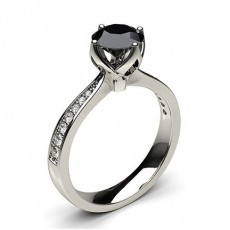 4 Prong Setting Large Side Stone Engagement Black Diamond Ring