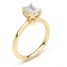 Emerald Yellow Gold Solitaire Diamond Engagement Rings