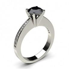 Bague de fiançailles vintage épaulée diamant rond serti clos et pavé