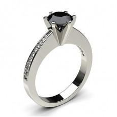 Round   Black Diamond Diamond Engagement Rings