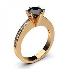 Round Rose Gold Black Diamond Rings