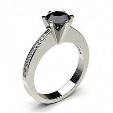 Round Platinum Black Diamond Rings