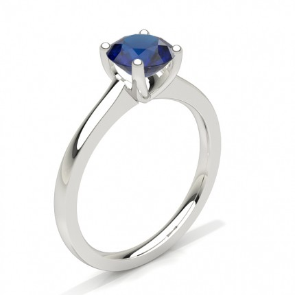 White Gold Round Blue Sapphire Engagement Ring