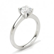 Round Platinum Solitaire Diamond Engagement Rings