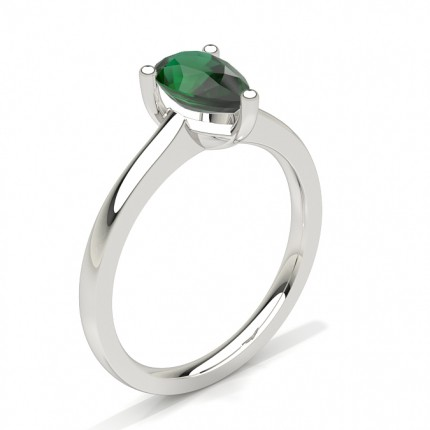 White Gold Pear Emerald Engagement Ring