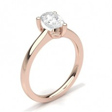 Pear Rose Gold  Solitaire Engagement Rings