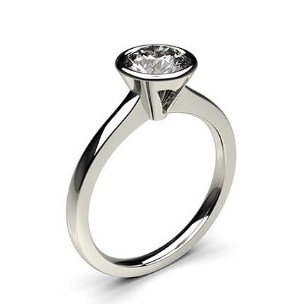 c345dfbba6866 Bague de fiançailles fine solitaire diamant rond serti clos - Diamonds  Factory