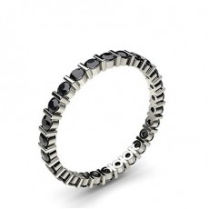 Bar Setting Full Eternity Black Diamond Ring