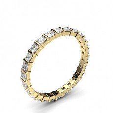 Princess Yellow Gold Full Eternity Diamond Rings