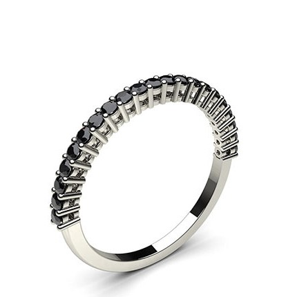 4 Prong Setting Half Eternity Black Diamond Ring