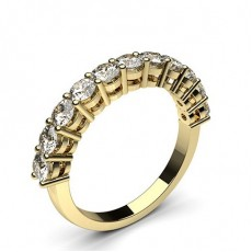 Round Yellow Gold Anniversary Diamond Rings