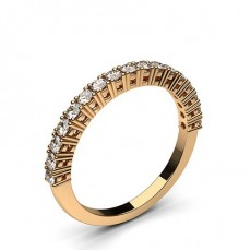 Round Rose Gold Half Eternity Diamond Rings