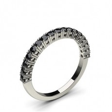 4 Prong Setting Half Eternity Black Diamond Ring