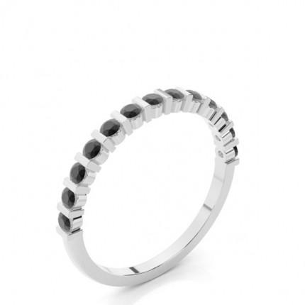 Bar Setting Half Eternity Black Diamond Ring