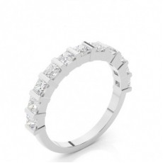 Princess White Gold Half Eternity Diamond Rings