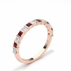 Princess Rose Gold Diamond Half Eternity Rings