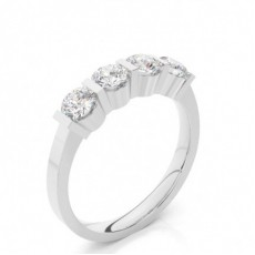 Bar Setting Round Diamond Half Eternity Diamond Ring