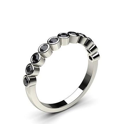 Full Bezel Setting Half Eternity Black Diamond Ring