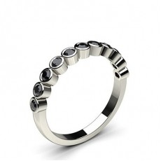 Full Bezel Setting Half Eternity Black Diamond Ring