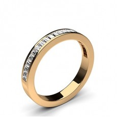 Baguette Rose Gold Half Eternity Diamond Rings