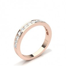 Round Rose Gold Half Eternity Diamond Rings
