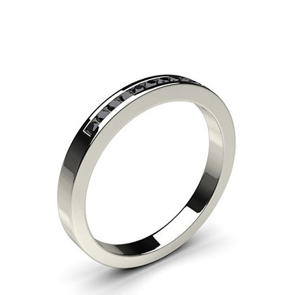 Channel Setting Half Eternity Black Diamond Ring