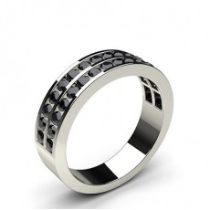 Channel Setting Half Eternity Black Diamond Ring