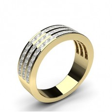 Princess Yellow Gold Half Eternity Diamond Rings