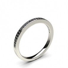 Pave Setting Half Eternity Black Diamond Ring