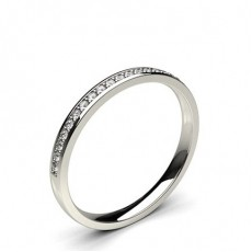 4 Prong Setting Half Eternity Diamond Ring in 18K Yellow Gold