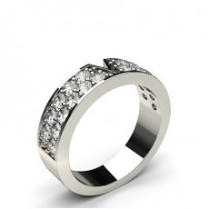 4.50mm Pave Setting Double Row Diamond Shaped Band