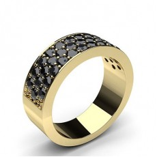 Round Yellow Gold Black Diamond Women's Wedding Bands Bands