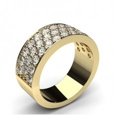 Round Yellow Gold Half Eternity Diamond Rings