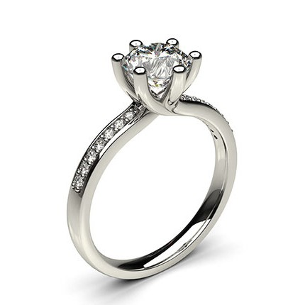 6 Prong Setting Studded Side Stone Engagement Ring