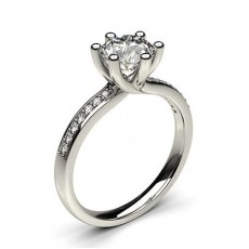 6 Prong Setting Studded Side Stone Engagement Ring