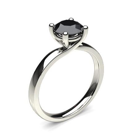 4 Prong Setting Plain Engagement Black Diamond Ring