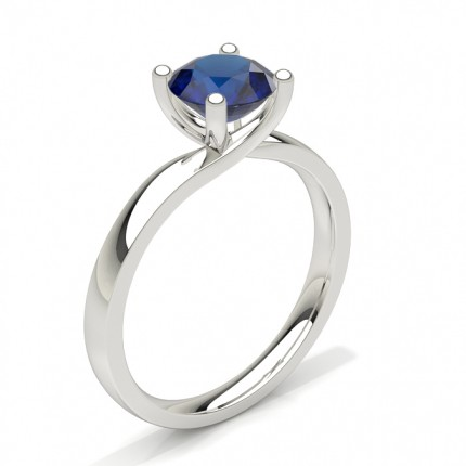 Round Prong Setting Blue Sapphire Engagement Ring