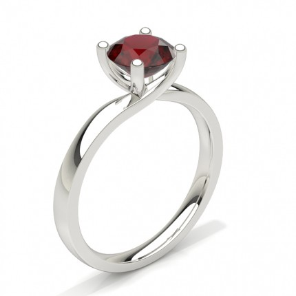 Round Prong Setting Ruby Engagement Ring
